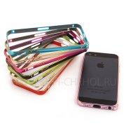 Чехол-бампер Apple iPhone 5 / 5S металл Cross красный 0.7mm 7721