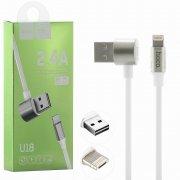 Кабель Multi USB-iP+Micro Hoco U18 Symmetric White 1.2m 2.4A