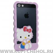 Чехол-бампер Apple iPhone 5/5S/SE силиконовый сиреневый Hello Kitty
