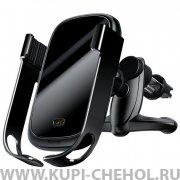 Автодержатель в воздуховод+беспроводное З/У Baseus Rock-solid Wxhw01-01 Black