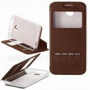 Чехол книжка Lenovo A820 с магнитом 107252 коричневый