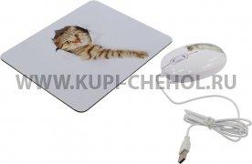 Мышка компьютерная проводная + коврик CBR Capture 2924