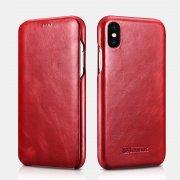 Чехол книжка Apple iPhone XS Max Icarer красный из натуральной кожи