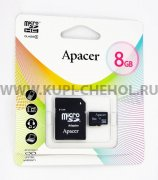 Micro SD 8Gb class 4 к/п Apacer + адаптер SD