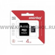Micro SD 4Gb class 4 к/п + адаптер SmartBuy