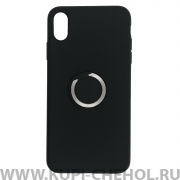 Чехол-накладка iPhone XS Max Derbi Slim Silicone-3 с кольцом черный