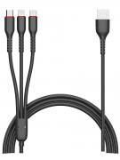 Кабель Multi USB-iP+Micro+Type-C Jellico Magotan Black 1.2m 3.1A