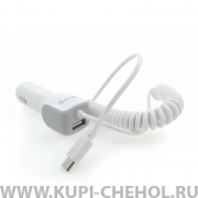 АЗУ Micro+1USB Connect Pro 1m White