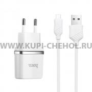 СЗУ 2USB 2.4A+кабель USB-Micro Hoco C12 1m White