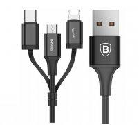 Кабель Multi USB-iP+Micro+Type-C Baseus CA3IN1-ZY01 Black 1.2m