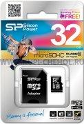 Micro SD 32Gb Class 10 к/п + адаптер Silicon