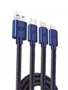 Кабель Multi USB-iP+Micro+Type-C Exployd Jeans Blue 1m