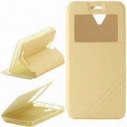 Чехол книжка Fly IQ4514 Evo Tech 4 Armor Flip Cover золотой с окном