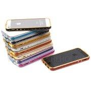 Чехол-бампер Apple iPhone 5 / 5S металл 8595 серебряный фиолетовый