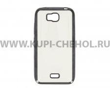 Чехол силиконовый Huawei Ascend Y5C Y541 Hallsen прозрачный с черными краями без логотипа