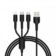 Кабель Multi USB-iP+Micro+Type-C Borofone BX16 черный 1m