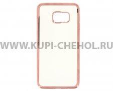 Чехол силиконовый Samsung Galaxy S6 Edge+ G928 Hallsen прозрачный с красными краями без логотипа