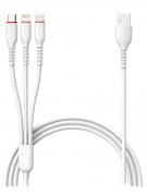 Кабель Multi USB-iP+Micro+Type-C Jellico Magotan White 1.2m 3.1A