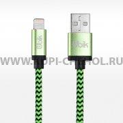 Кабель USB-iP Ubik UL03 зелёный 1м