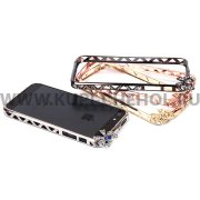Чехол-бампер со стразами Apple iPhone 5 / 5S металл Бантик 0082 серебряный