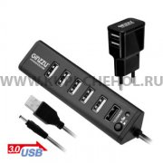 ХАБ USB-разветвитель GiNZZU GR-315UAB на 7 портов + адаптер