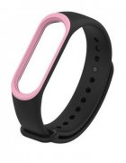 Ремешок силиконовый для Xiaomi Mi Band 3/Mi Band 4 Black/Pink