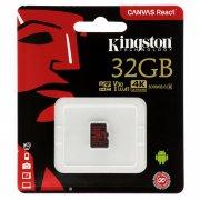 Micro SD 32Gb Class 10 к/п Kingston UHS-I U3 Canvas React V30 100Mb/s