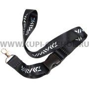 Шнурок на шею с металлическим карабином чёрный 0561