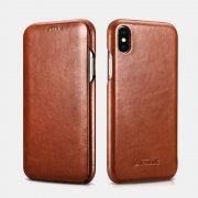 Чехол книжка Apple iPhone XS Max Icarer коричневый из натуральной кожи