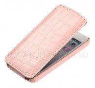 Чехол флип Apple iPhone 5 / 5S UpCase светло-розовый крокодил