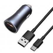 АЗУ 5A/40W USB+Type-C+кабель USB-Type-C Baseus PD/QC 1m Dark Gray