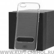 Чехол-накладка Apple iPhone 6/6S Hdci прозрачный с черной подставкой