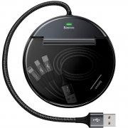 ХАБ USB-разветвитель 2 порта+Type-C Baseus Car Sharing Black 0.5m
