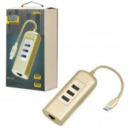 ХАБ Type-C-3USB+Interface RJ45 Remax RU-U4 Gold 0.15м
