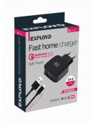 СЗУ 1USB 2.4A+кабель USB-Type-C Exployd Sonder QC3.0 1m Black УЦЕНЕН