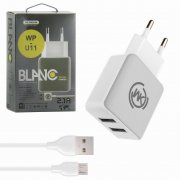 СЗУ 2USB 2.1A+кабель USB-Micro WK WP-U11 1m White