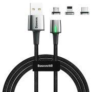 Кабель Multi USB-iP+Micro+Type-C Baseus Zinc Magnetic Black 2m 2.4A