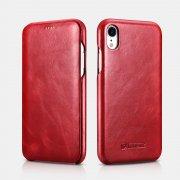 Чехол книжка Apple iPhone XR Icarer красный из натуральной кожи
