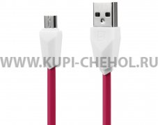 Кабель USB-Micro Remax RC-030i Aliens бело-розовый 1m