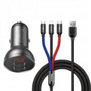 АЗУ 2USB+кабель USB-iP+Micro+Type-C Baseus Digital Display 1.2m Gray УЦЕНЕН
