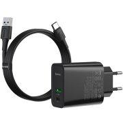СЗУ 1USB+Type-C 5A+кабель USB-Type-C Baseus Speed PPS Quick Charge 1m Black