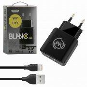 СЗУ 2USB 2.1A+кабель USB-iP WK WP-U11 1m Black