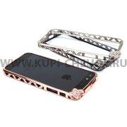 Чехол-бампер со стразами Apple iPhone 5 / 5S металл Бабочка 0082 бронзовый