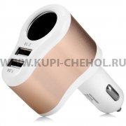 Разветвитель АЗУ - 1 АЗУ + 2 USB Hoco UC206 White