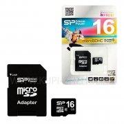 Micro SD 16Gb class 10 к/п Silicon + адаптер