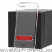Чехол-накладка Apple iPhone 6/6S Hdci прозрачный с красной подставкой