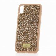 Чехол-накладка iPhone XS Max Swarovski Кристаллы Pink/Silver