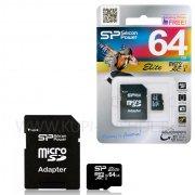 Micro SD 64Gb class 10 к/п Silicon Elite UHS-I + адаптер