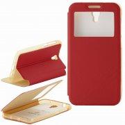 Чехол  откидной  Alcatel  6037B  Armor Air Slim  Book  красн  с окном