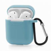 Чехол для Apple AirPods силиконовый голубой